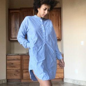 Mandarin Collar Vertical Stripe Tee Dress